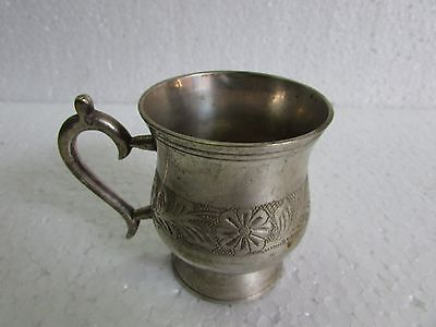 Vintage old White metal Solid Floral Engraved Tea / Cup Collectible