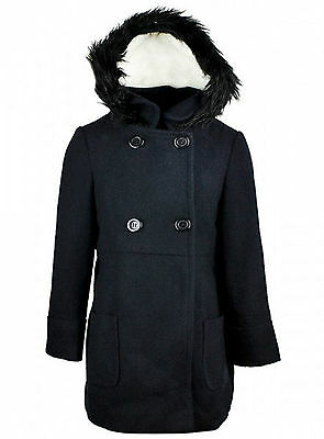 Girls Coat Dark Navy Ex Store Double Breasted Smart Hooded Coat 2-13Y