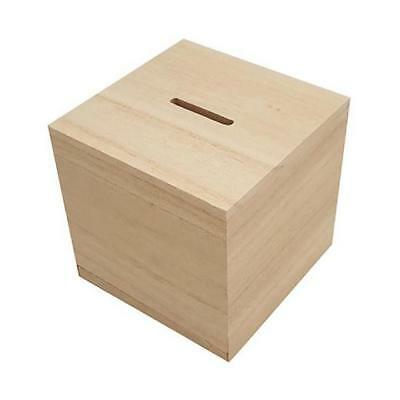 Bare Wood Money Box Cube #8435