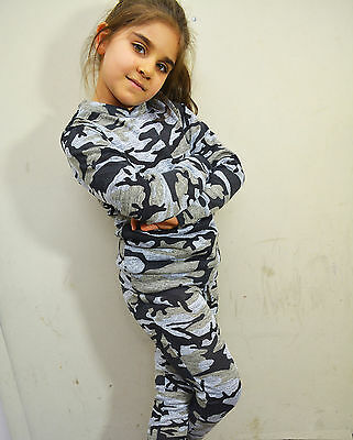New Kids Girls Ladies Loungewear Set Top Joggers Camouflage Print Tracksuit
