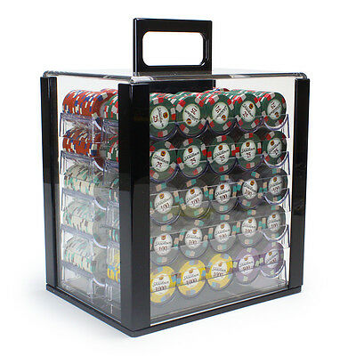 NEW 1000 Showdown 13.5 Gram Clay Poker Chips Acrylic Carrier Case Set Pick Chips