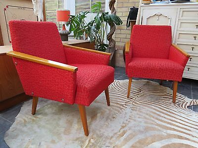 Pair Of Original Red East German Cocktail Lounge Armchairs C1970 Au16-9A