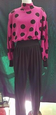 Totally Bitchin' 80s Vintage Pink Polka Dotted Knit Jumpsuit Outfit Long Sleeves