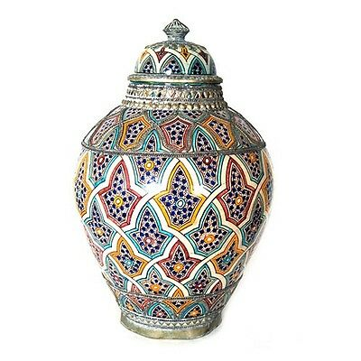 """Authentic Moroccan large Vase Made in Morocco, marked """"FES ACH"""", Fes Morocco"""