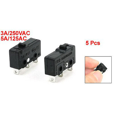 New 5 x 3-Terminal SPDT 1NO 1NC Momentary Micro Switch 3A/250VAC 5A/125AC T1