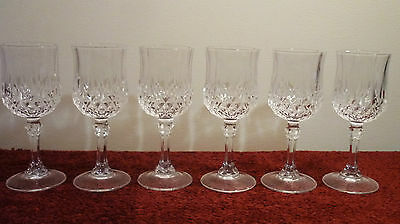 CRYSTAL CRISTAL D'ARQUES FRANCE LONGCHAMP SHERRY LIQUOR GLASS x 6 EXCELLENT