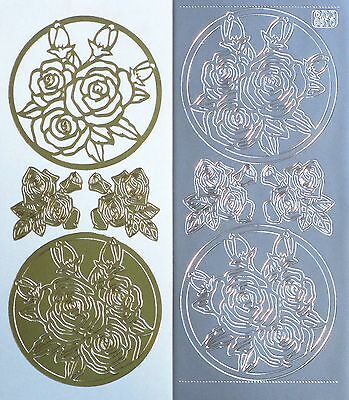 ROSES Window Framed Flowers Spray PEEL OFF STICKERS Gold or Silver Cardmaking