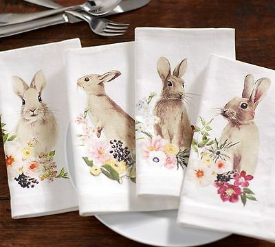 New! Set 4 Pottery Barn Floral Bunny Easter Napkins...Match Salad Plates