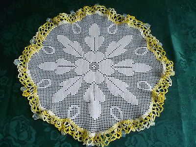 Vintage Opaque Glass  Beaded Jug Cover Varigated Yellow Crocheted Edge