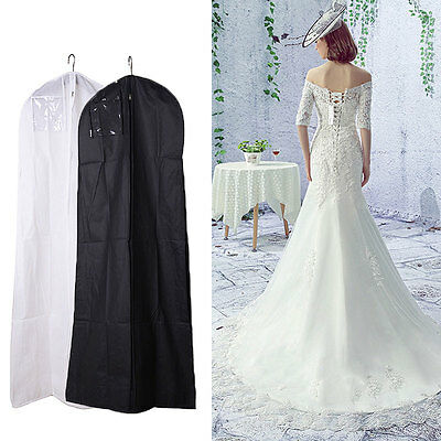 White/Black Large Wedding Dress Bridal Gown Garment Breathable Cover Storage Bag