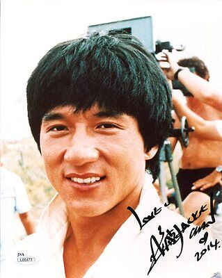 JACKIE CHAN HAND SIGNED 8x10 COLOR PHOTO         YOUNG+HANDSOME ACTOR       JSA