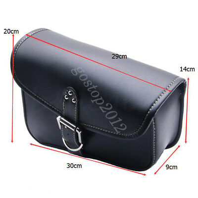 Motorcycle Saddle PU Leather Bag Right Side Storage Tool Pouch Black For Harley