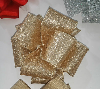 "2.5"" 63MM Wire Edge Glittery Sparkly Gold Ribbon Christmas New YearWedding Party"