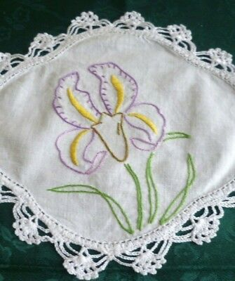 Vintage Hand Embroidered Duchess Set Large & 2 Small Doilies Iris Design