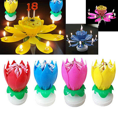 Amazing Musical Rotating Lotus Flower Birthday Candle Lights Party Fountain Gift
