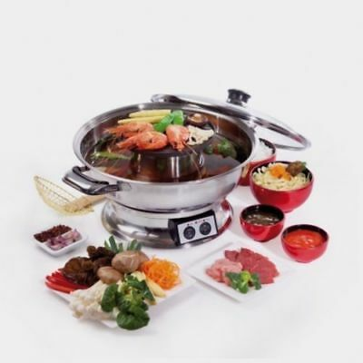 Maxim Steamboat 2000W Teppanyaki Hot Pot /Asian/Soup/Fondue/Maker Hotpot
