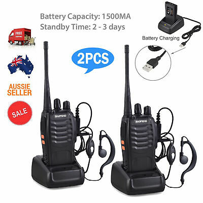2x Walkie Talkie BF-888S UHF 400-470MHz 5W 16CH Portable Two-Way Radio AU Stock