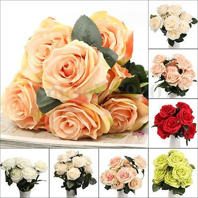 10 Head Artificial Fake Silk Rose Wedding Bridal Flower Bouquet Home Party Decor