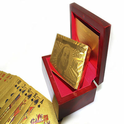 2x  24k Gold Plated Playing Cards Full Poker Deck 99.9% Pure With Box Gift