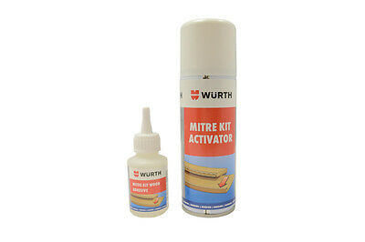 Genuine Wurth Mitre Kit Wood Adhesive and Activator Superglue - 50G/200ml
