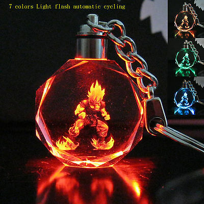 Dragon Ball Dragonball Z Crystal Key Ring 7 Model light colorful flash Pendant