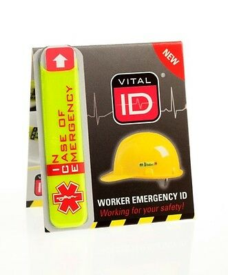 Vital ID safety helmet worker accident emergency ICE medical tag hard hat