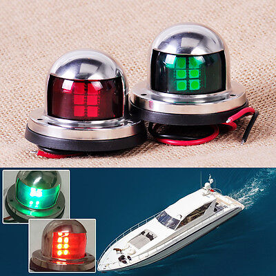 1 Pair 12V LED Bow Navigation Light Red Green Marine Boat Yacht(Stainless Steel)