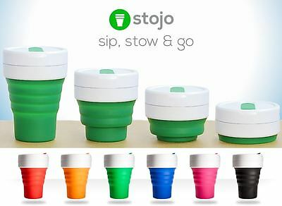 Stojo Collapsible Silicone 12oz Cup - Reusable Leak Proof Travel Mug Six Colours