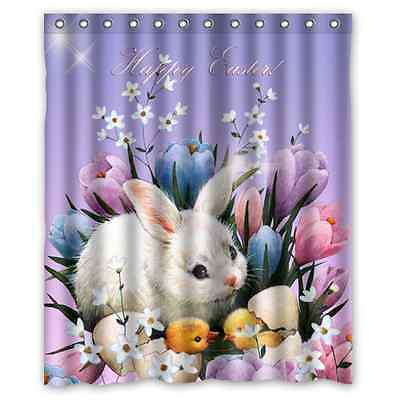 New Custom Happy Easter Rabbit Waterproof Fabric Shower Curtain 60 x 72 Inch