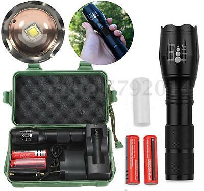 6000Lm T6 LED Zoomable 18650 AAA Flashlight Torch Light 18650 Charger box