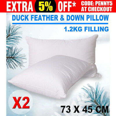2X Duck Down Feather Pillow 1.2KG Filled 73 x 45cm Twin Pack White Cotton Cover