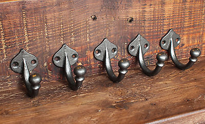 5 x CAST IRON COAT HOOKS VICTORIAN OLD ANTIQUE VINTAGE OLD WALL HOOKS - CH01(x5)