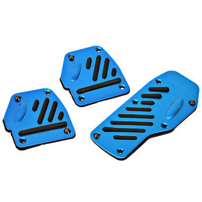 3pcs Universal Blue Racing Sport Non Slip For Manual Car Auto Pedals Pad Blue