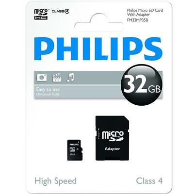 Philips 32GB Micro SD (SDHC) Memory Card, Class 10, with SD adapter