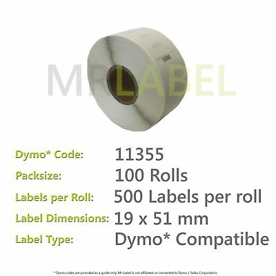 Dymo 11355 Compatible Roll of Labels (100 Rolls)