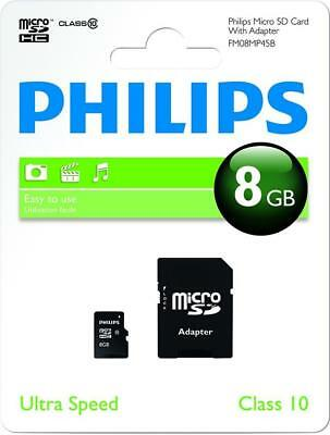 Philips 8GB Micro SD (SDHC) Memory Card, Class 10, with SD Adapter