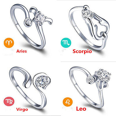 Creative Silver 12 Constellations Zodiac Sign Opening Adjustable Rings