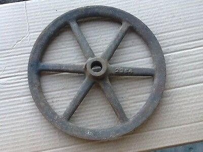 "Vintage Cast Iron V Belt Pulley 3/4"" Inch Shaft Bore X 9-1/8"" Diameter Steampunk"