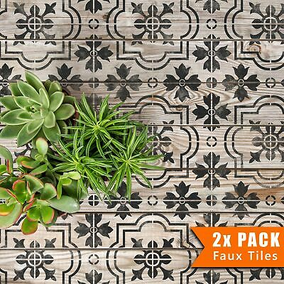 MARBELLA Mediterranean Victorian Tile Furniture Wall Floor Stencil for Paint