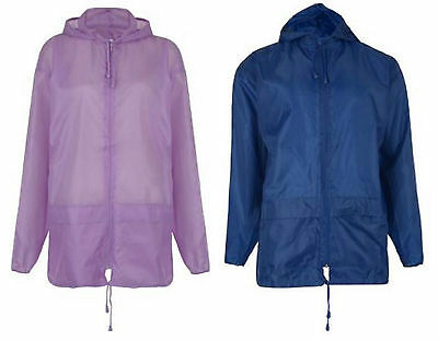 Kids Girls Boys Kagool Rain Mac Kag In A Bag Lilac Pink Black Navy 3-12 Years
