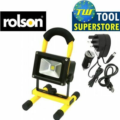 Rolson 10W Portable Outdoor LED Rechargeable Work Light Torch Mains Car Charger
