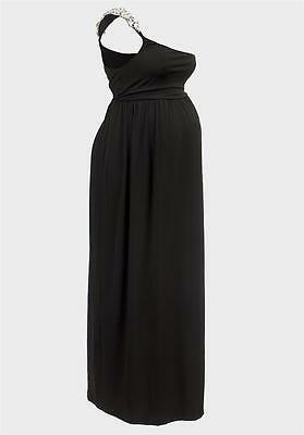 b3150486ee789 DESIGNER Maxi Maternity Dress Jewel Shoulder Strap Black Rock A Bye Rosie