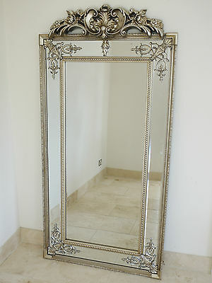 STUNNING VENETIAN Large Decorative Antique Silver Wall Mirror Rectangle 4606