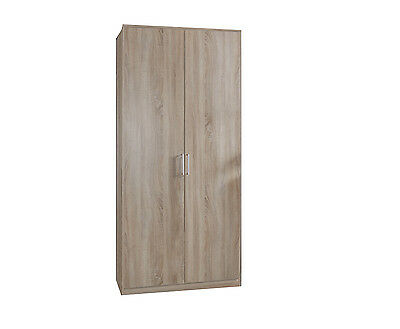 GERMAN MADE Oak Effect 2 Door Tall Wardrobe 90cm 199cm Hanging