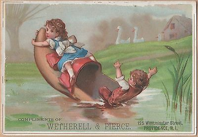 Victorian Trade Card-Wetherell & Pierce-Providence, RI-Kids Boating in Shoe