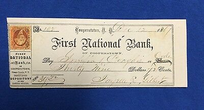 1867 Bank Check w/ US Revenue Stamp Cooperstown NY Griffin Gilbert