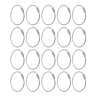 20pcs Stainless Steel Outdoor Hiking 15cm New Wire Keychain Cable Key Ring T1