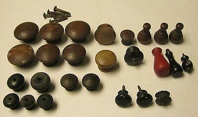 26 Antique Architectural Salvage Wooden Knobs Drawer Pulls Round Hardware