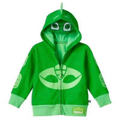 Toddler Boy's Animated TV Show PJ Masks Gekko Green Zip-Up Costume Hoodie