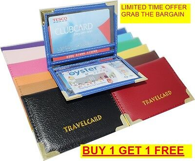 Leather Travel Card Oyster Slim Wallet Bus Pass Holder Rail Credit Cover Case